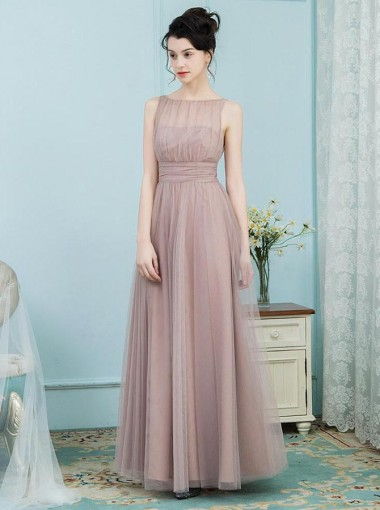 A-Line Bateau Pleated Blush Tulle Bridesmaid Dress