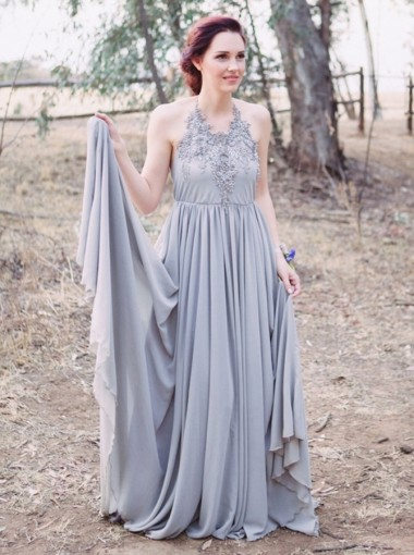 A-Line Halter Backless Grey Chiffon Bridesmaid Dress with Appliques