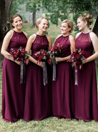 A-Line Halter Floor Length Dark Red Chiffon Bridesmaid Dress