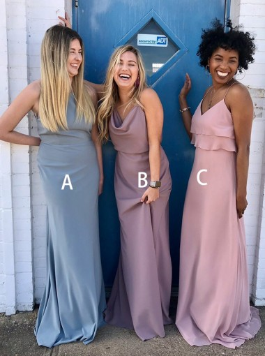 Mermaid Halter Sweep Train Blue Chiffon Bridesmaid Dress