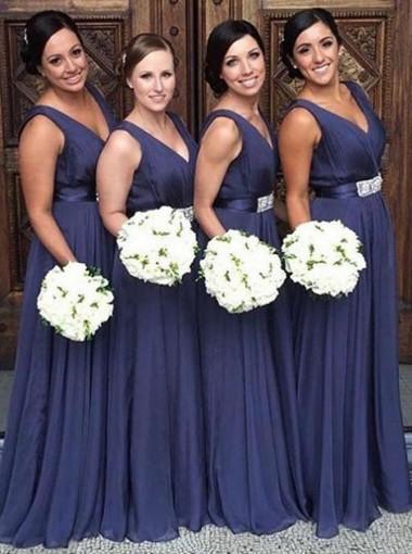 A-Line V-Neck Blue Chiffon Bridesmaid Dress with Sash
