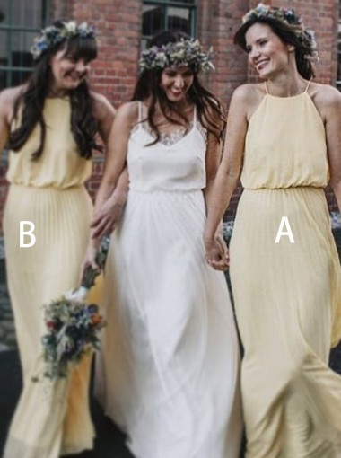 A-Line Halter Floor Length Pleated Yellow Chiffon Bridesmaid Dress