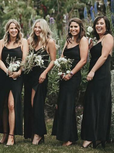 Sheath Spaghetti Straps Black Chiffon Bridesmaid Dress with Split