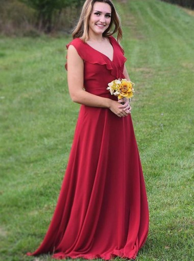 A-Line V-Neck Red Chiffon Bridesmaid Dress with Ruffles