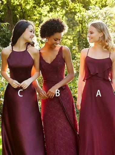 A-Line Spaghetti Straps Dark Red Chiffon Bridesmaid Dress with Ruffles
