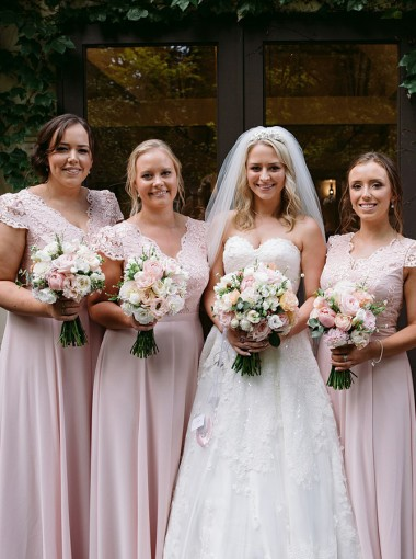 A-Line V-Neck Pink Chiffon Bridesmaid Dress with Lace