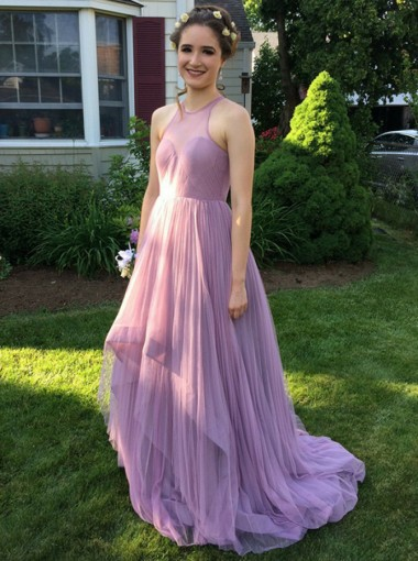 A-Line Round Neck Sweep Train Lilac Tulle Bridesmaid Dress