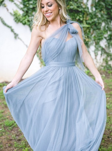 A-Line One-Shoulder Pleated Blue Tulle Bridesmaid Dress