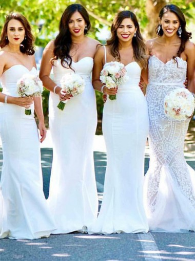 Mermaid Sweetheart Sweep Train White Satin Bridesmaid Dress