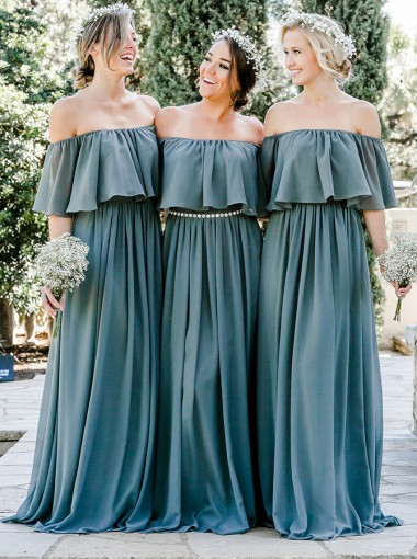 A-Line Off-the-Shoulder Blue Chiffon Bridesmaid Dress with Ruffles