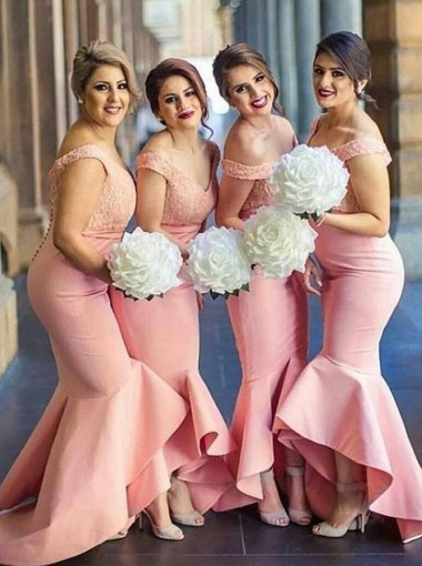 Mermaid Off-the-Shoulder Pink Satin Bridesmaid Dress with Lace