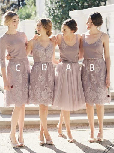A-Line Scoop Lilac Tulle Bridesmaid Dress with Appliques