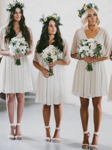 A-Line V-Neck Above Knee White Chiffon Bridesmaid Dress