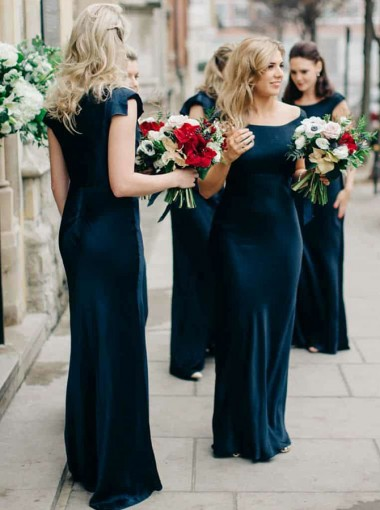 Sheath Sccop Sleeveless Navy Blue Satin Bridesmaid Dress