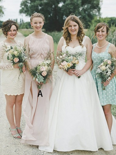 A-Line Round Neck Cut Out Pink Chiffon Bridesmaid Dress with Split