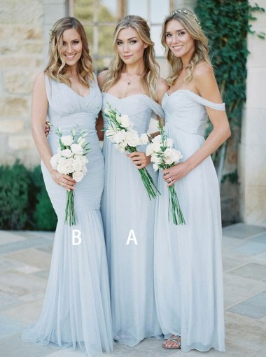 A-Line Off-the-Shoulder Light Blue Chiffon Bridesmaid Dress