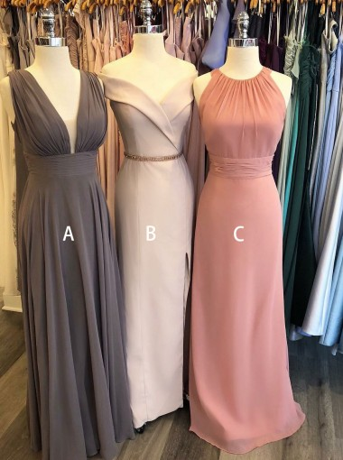 A-Line V-Neck Low-cut Grey Chiffon Bridesmaid Dress
