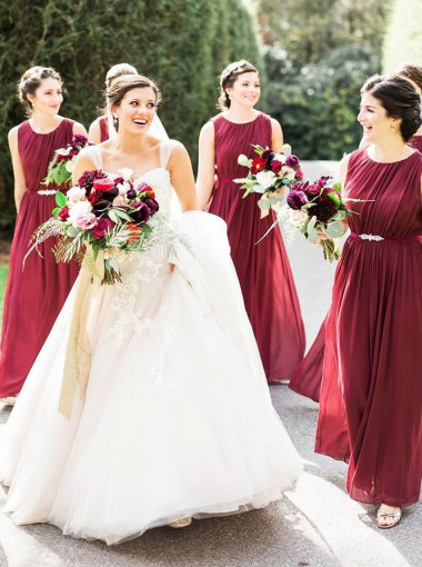 A-Line Round Neck Dark Red Chiffon Bridesmaid Dress with Sash