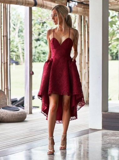 A-Line Spaghetti Straps High Low Red Lace Bridesmaid Dress with Pockets