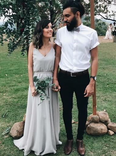 A-Line Spaghetti Straps Pleats Grey Chiffon Bridesmaid Dress