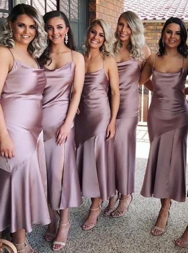 Sheath Spaghetti Straps Lilac Satin Bridesmaid Dress with Split