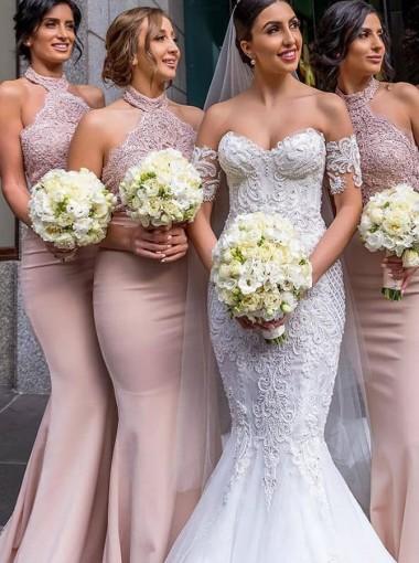 Mermaid Halter Long Pink Satin Bridesmaid Dress with Lace