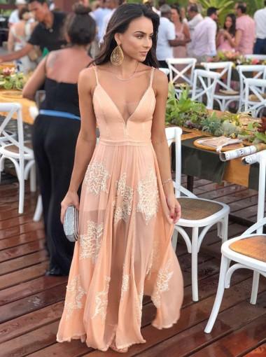 A-Line Spaghetti Straps Pink Chiffon Bridesmaid Dress with Appliques