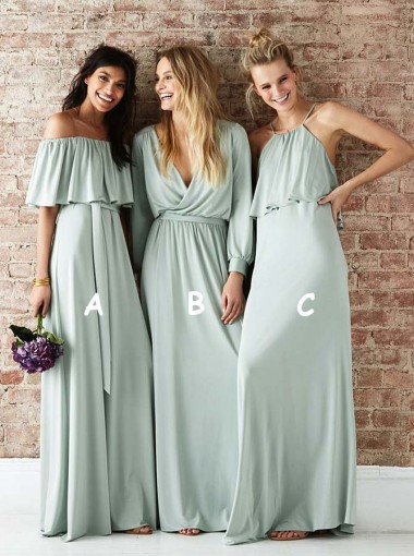 A-Line Off-the-Shoulder Sage Long Bridesmaid Dress with Ruffles