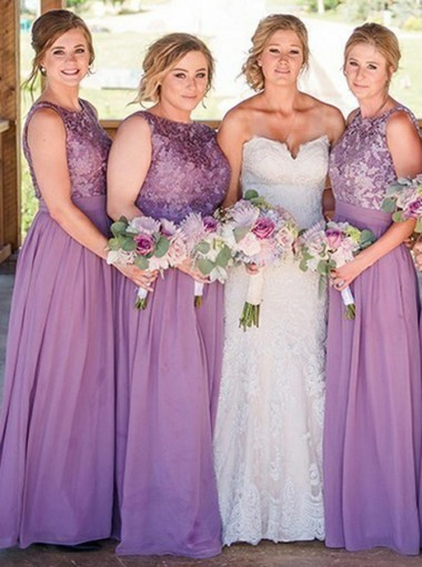 Round Neck Floor Length Purple Chiffon Bridesmaid Dress with Lace