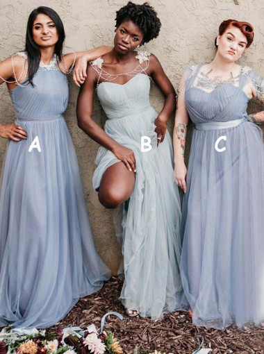 Round Neck Pleated Long Blue Tulle Bridesmaid Dress with Appliques