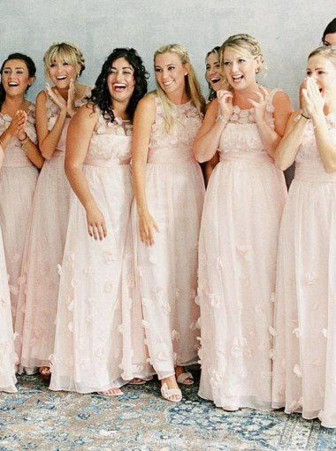 A-Line Round Neck Floor Length Pink Lace Bridesmaid Dress