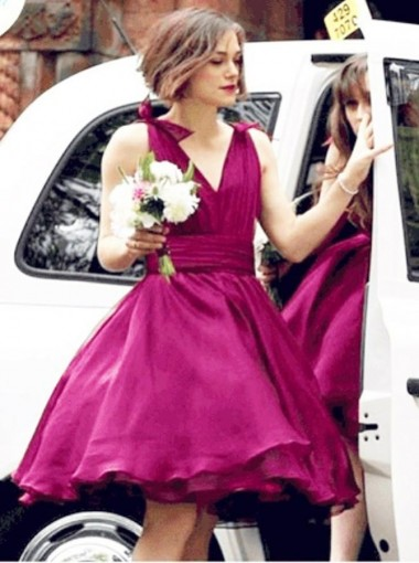 A-Line V-Neck Pleated Short Fuchsia Chiffon Bridesmaid Dress