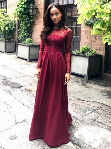 Round Neck Dark Red Chiffon Bridesmaid Dress with Lace Sleeves