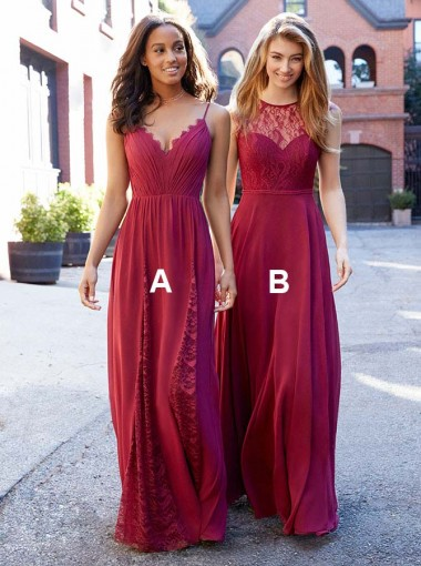 Spaghetti Straps Floor Length Red Chiffon Bridesmaid Dress with Lace