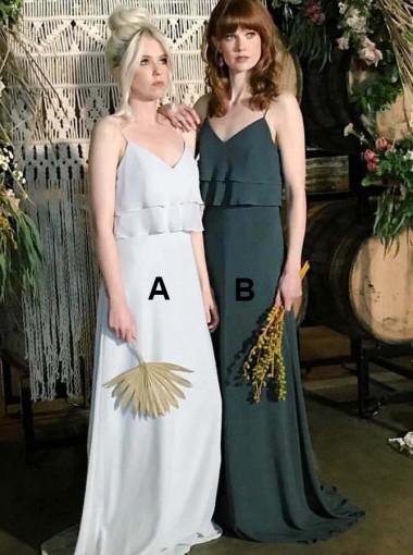A-Line Spaghetti Straps Long Light Grey Chiffon Bridesmaid Dress