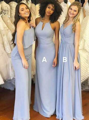 Sheath Jewel Sweep Train Blue Chiffon Bridesmaid Dress with Keyhole