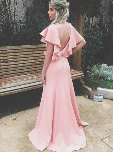 Sheath V-Neck Coral Satin Bridesmaid Dress with Ruffles Split