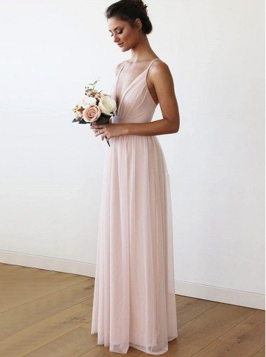 A-Line V-Neck Criss-Cross Back Long Pink Chiffon Bridesmaid Dress