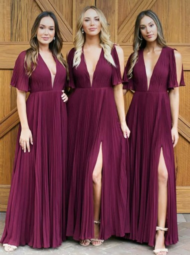 A-Line V-Neck Pleats Dark Red Chiffon Bridesmaid Dress with Split