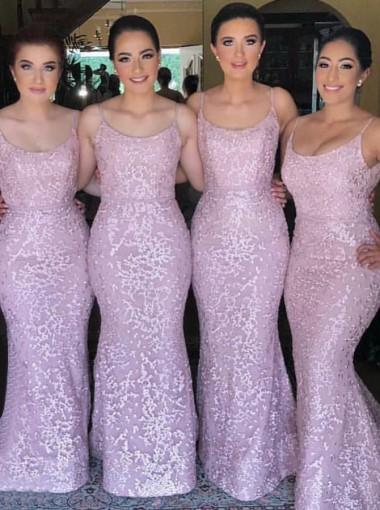 Sheath Spaghetti Straps Floor Length Lavender Lace Bridesmaid Dress