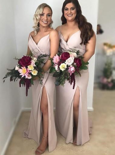 Sheath Spaghetti Straps Blush Bridesmaid Dress with Split