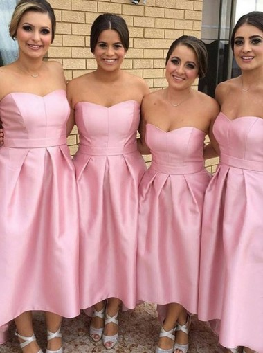 A-Line Strapless High Low Pleated Pink Satin Bridesmaid Dress