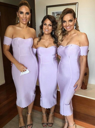 Bodycon Off-the-Shoulder Mid-Calf Lavender Satin Bridesmaid Dress