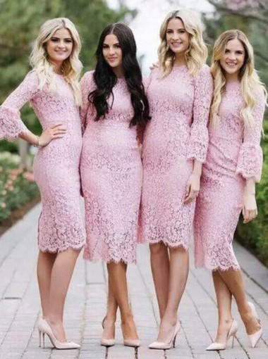 Bodycon Round Neck Knee Length Pink Lace Bridesmaid Dress