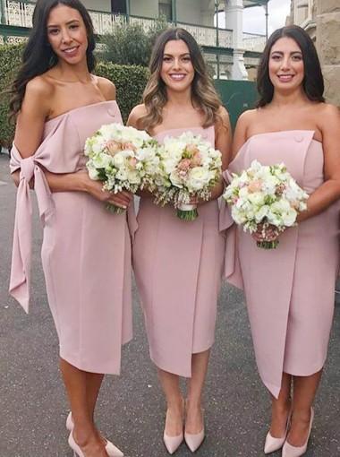 Sheath Strapless Knee Length Blush Satin Bridesmaid Dress