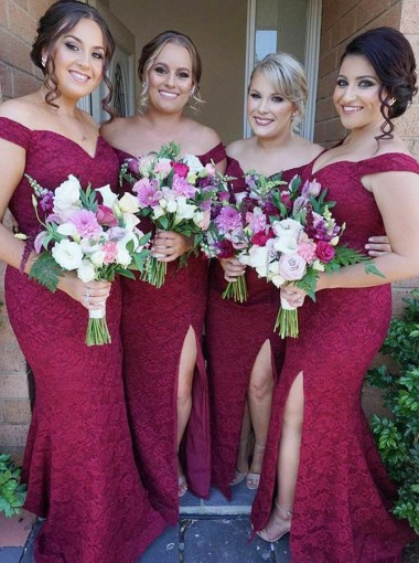 Mermaid Off-the-Shoulder Dark Red Lace Bridesmaid Dress with Split
