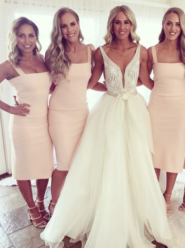 Bodycon Square Neck Pearl Pink Satin Bridesmaid Dress