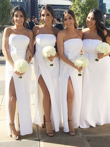 Sheath Strapless Floor Length White Chiffon Bridesmaid Dress with Split