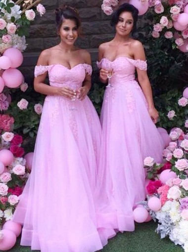 A-Line Off-the-Shoulder Pink Tulle Bridesmaid Dress with Appliques