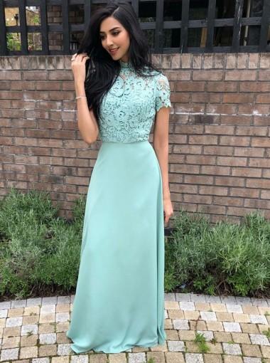 A-Line High Neck Sage Chiffon Long Bridesmaid Dress with Lace